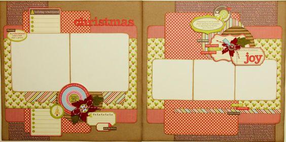 Christmas Scrapbook layout. 5 photos, journaling, 12x12.