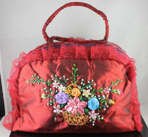 Handmade Handbag Ribbon Embroidery Flowers Totes by Mingxiastore