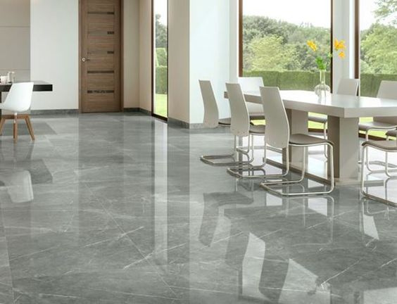 Beautifully polished charcoal grey porcelain tiles with intricate white veining. A classic tile that is so pretty that many believe it looks better than real marble.