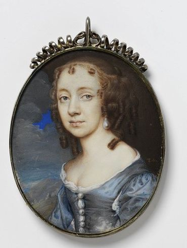 Portrait miniature in silver locket believed to be Lady Digby.: