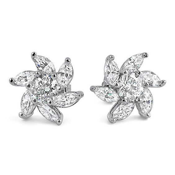 Silver Marquise Cut Simulated Diamond Flower Studs