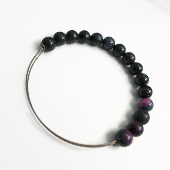Unisex Mashan Jade Expandable Wire Bracelet by JulemiJewelry, $18.00