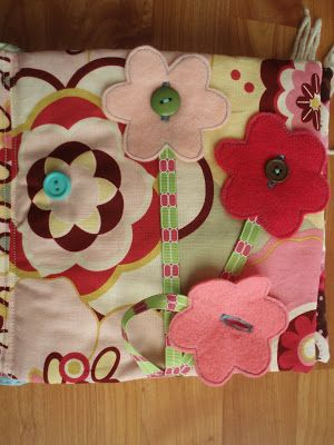 the journals of a Laura Ingalls wannabe: Fabric Busy Book. buttonable flowers that can't get lost