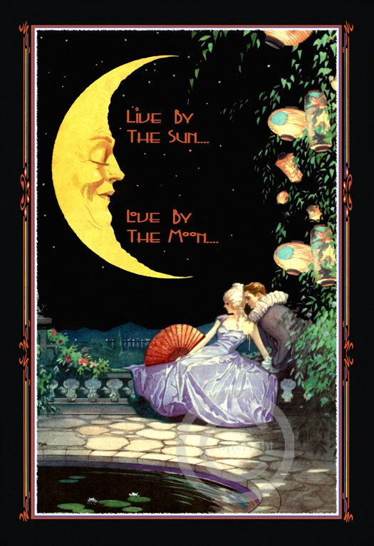 Whimsical Motto Print Man in the Moon by DragonflyMeadowsArt, $25.00: