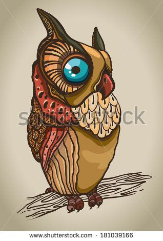 Cartoon graphic owl with big blue eyes sitting on a branch - stock vector