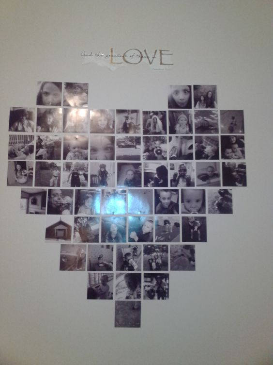 I had square prints made and did a heart collage in our loft area!