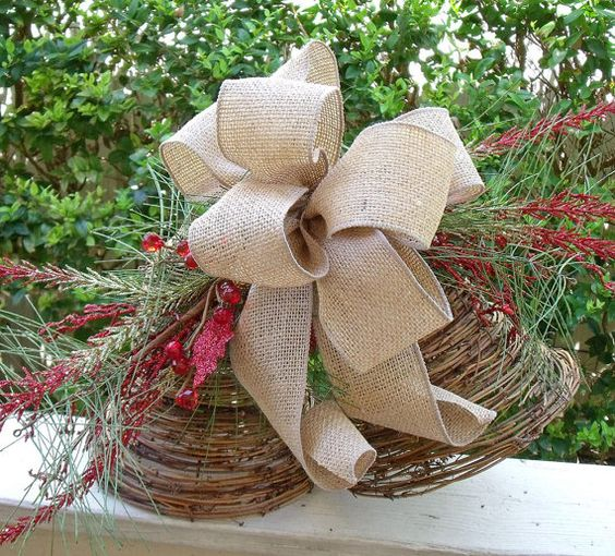 Christmas tree topper ribbon bow topper burlap tree for Burlap ribbon on tree