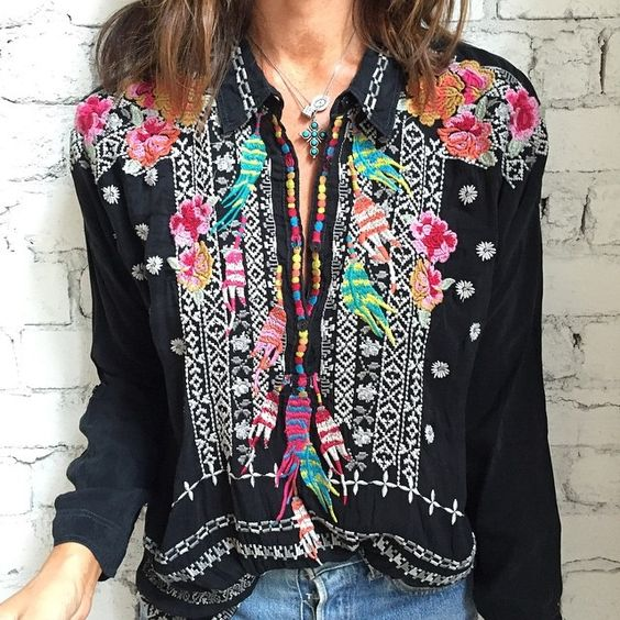 Modern gypsy look hippie feather Johnny Was embroidered top blouse. For the…: