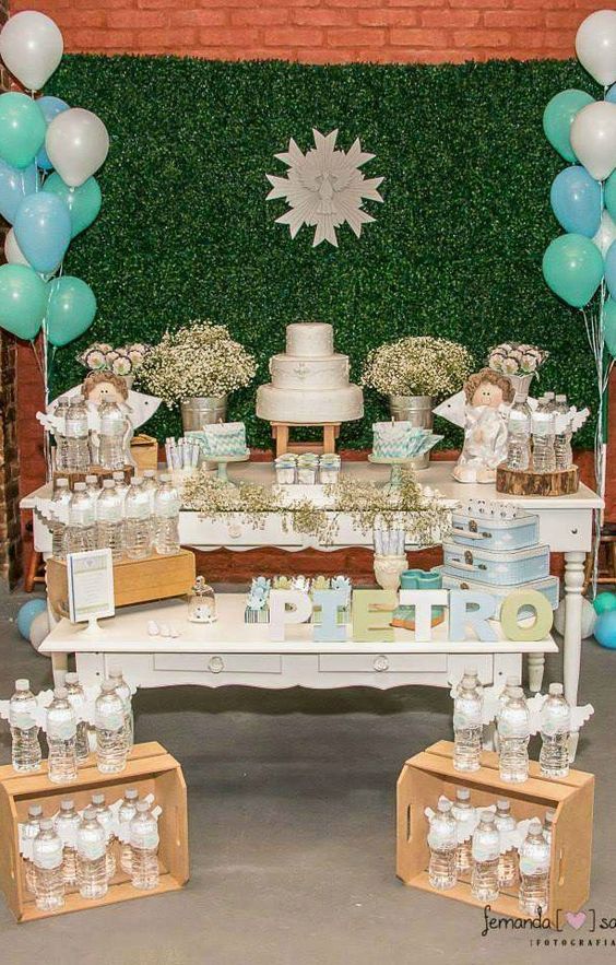 Mesa de postres Ángel Partido Bautismo y telón de fondo -        Angel Baptism Party dessert table and backdrop!  See more party planning ideas at CatchMyParty.com!