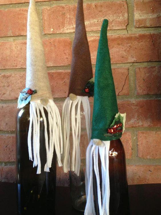 3 Wine & Beer Bottle Toppers Santa Gnomes Merlin Wizards
