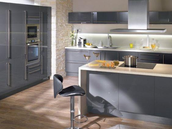 Conforama cuisine elite gris laque