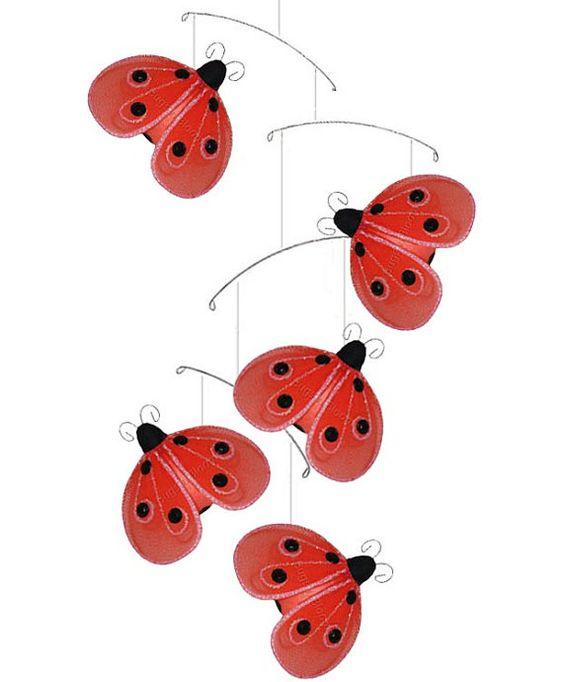 nylon hanging shimmer ladybugs mobile baby nursery girls bedroom