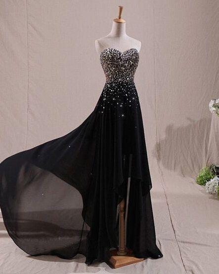 Handmade Black Asymmetric Sparkle Prom Dresses 2015, Black Prom 2015, Formal Dresses, Evening Dresses