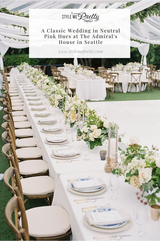Seattle brides! We are over the moon to share today's editorial, as it's the epitome of a classic summer wedding and the colonial home venue is an absolute dream. 💫  Emily and Brett's reception had the same chandelier that hung in their home hang above the dance floor (so cool) and we just LOVE the mismatched blue plates for a pop of color against their timeless color palette! 💙  Head to SMP to check out the full gallery captured by @amandakphotoart!  #seattlewedding #summerwedding #reception
