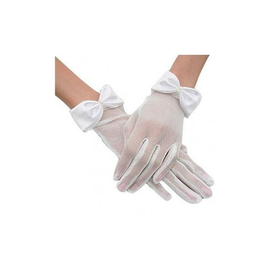 Evening Wedding Party Bridal White Black Bowknot Transparent Wrist... (5.65 CAD) ❤ liked on Polyvore featuring accessories, gloves, white, bride gloves, prom gloves, bridal gloves, white and black gloves and fancy gloves