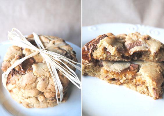 Caramel Chocolate Chip Cookies: Cookie Monster, Cookies Brownies, Chocolate Chips, School, Sweet Treats, Yummy Sweets, Caramel Chocolate, Lunch, Chocolate Chip Cookies