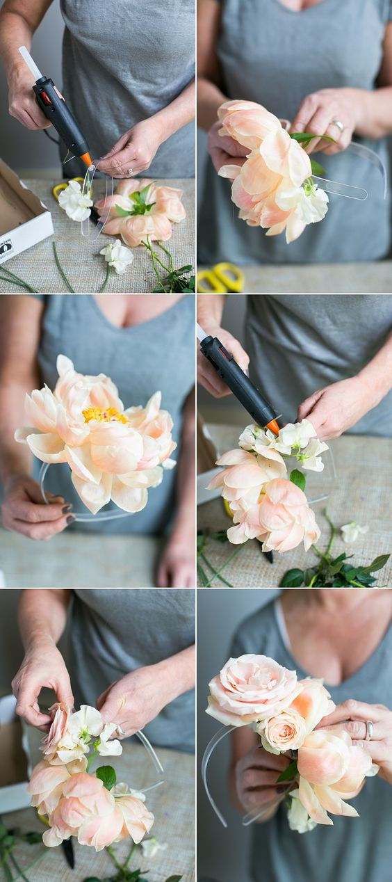 Floral DIY: How to make an asymmetrical floral headband with Blue Sky Flowers Photography Anneli Marinovich www.blovedweddings.com