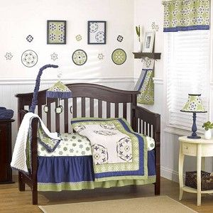 Moss Crib Bedding by Cocalo  navy and green
