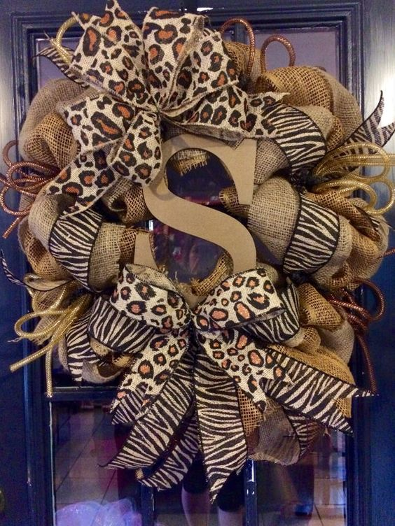 Fall Animal Print Monogram Burlap Wreath by WreathsbyLaura on Etsy
