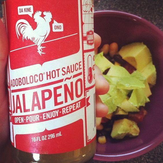 Beans, tomato, avo, awesome @adoboloco sauce. It's AMAZING.