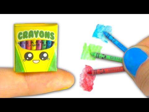 Miniatura de ceras o pinturas de colores y caja - Tutorial para muñeca y casa de muñecas ❤ - YouTube