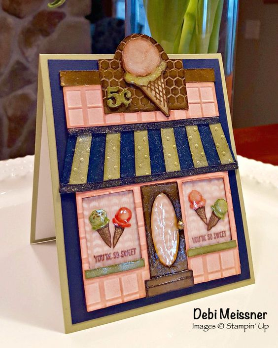 PPA289: Ice Cream Shoppe using Pear Pizzazz, Blushing Bride and Night of Navy inks and cardstock.  Stampin' Up's  Honeycomb Happiness (Ice Cream Cone) Stamp and Birthday Bouquet DSP (Ice Cream Cones).  Storefront cut-out from Cricut Design Space.: