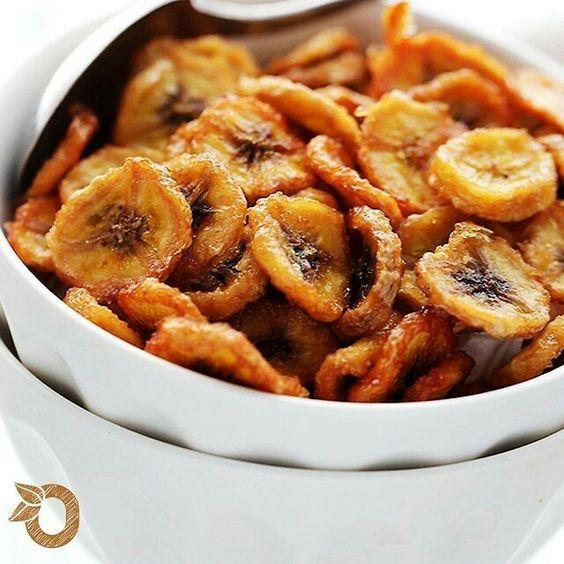 Chips saudáveis de banana *madura