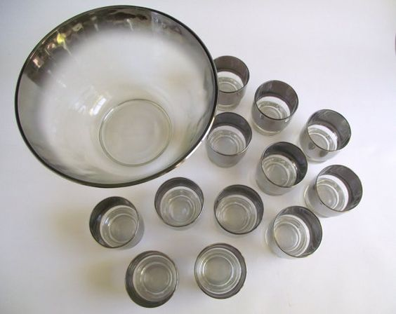 Silver Ombré Punch Bowl Set with 12 Glasses #Vintage #SilverFade #MidCentury…