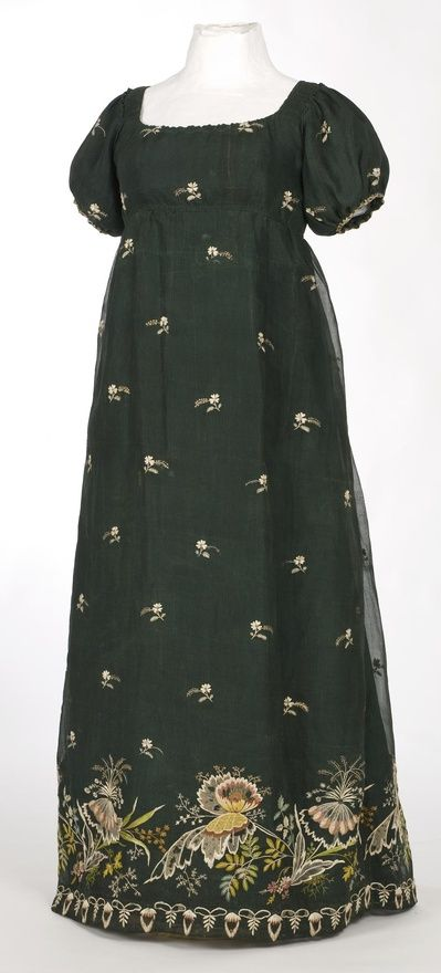 Early 19th century dress made with embroidered black net.: