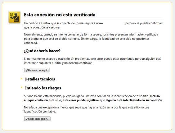 Excepción Certificado Seguridad Mozilla Firefox