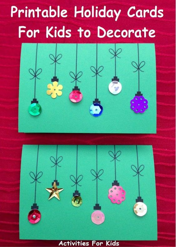 Cute holiday cards for kids to make.  Simple enough for a preschool project. Free Printable from Activities For Kids.: