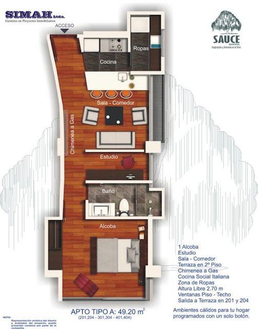 Planos de viviendas peque as con una sola habitacion for Planos de oficinas pequenas