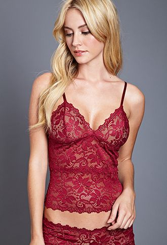 Floral Lace Cami | Forever21 | Burgundy, Large