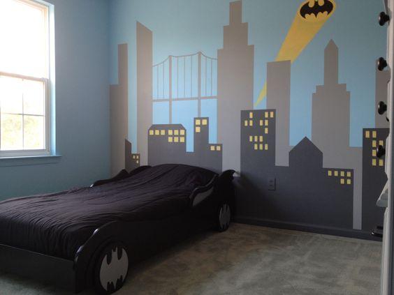 My son 39 s new batman bedroom he loves it house aidan for Batman bedroom paint ideas