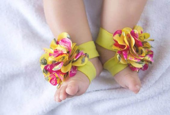 Toe Blooms Girls Baby Infant Newborn Barefoot Sandals Shoes Booties Flowers | eBay