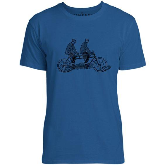 Mintage Two Man Bike Mens Fine Jersey T-Shirt (Royal)