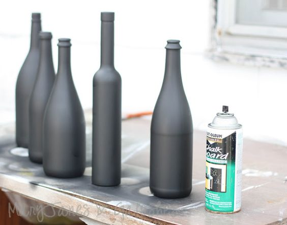 Chalk board paint on bottles... good idea!: Chalk Board, Diy Craft, Diy Project, Wine Bottle