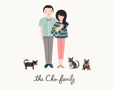 Love this family portrait Rifle Paper Co made for the Oh Joy blog new mommy