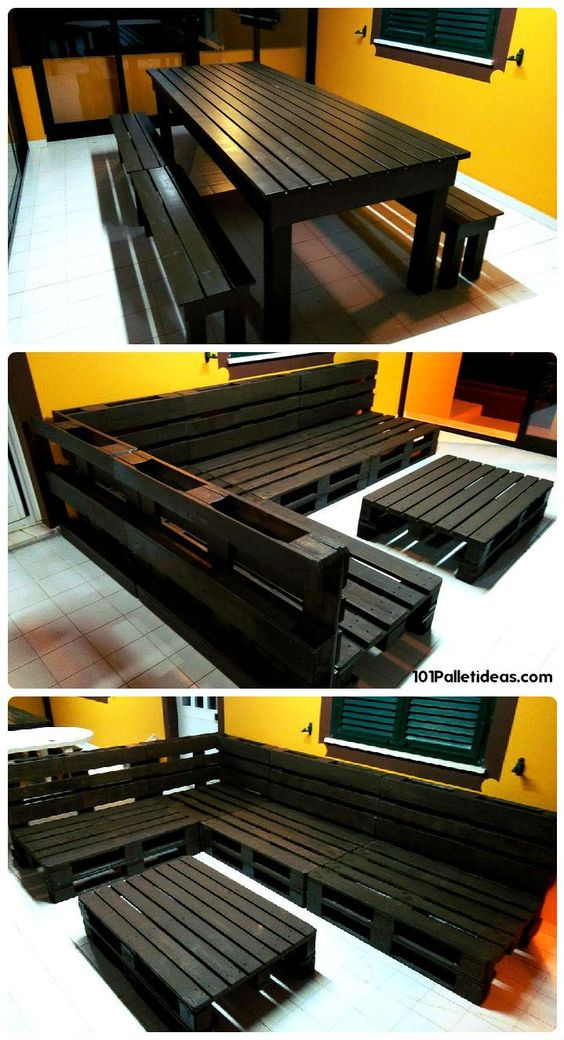 Black Stained Pallet Dining Set & Sofa Set - 15 Top Pallet Projects You can Build at Home | 101 Pallet Ideas