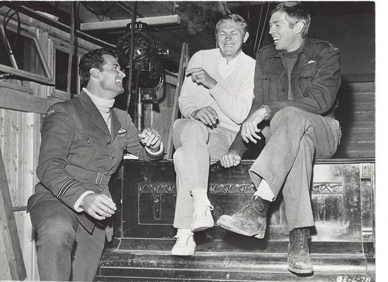 James Garner, Steve McQueen, and James Coburn on the set of The Great Escape in 1962.: