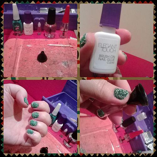 tutorial green caviar nails (1)  Produtos usados (na ordem): Esmalte, cola para unhas, caviar, top coat e óleo secante.  Esmaltar todas, mas passar a cola e jogar o caviar uma a uma (assim a cola não seca).