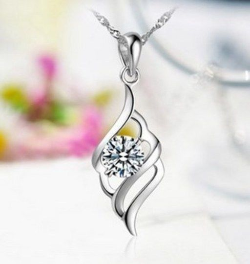 Silver Plated Rhinestone Crystal Angel Wings Necklace Pendant