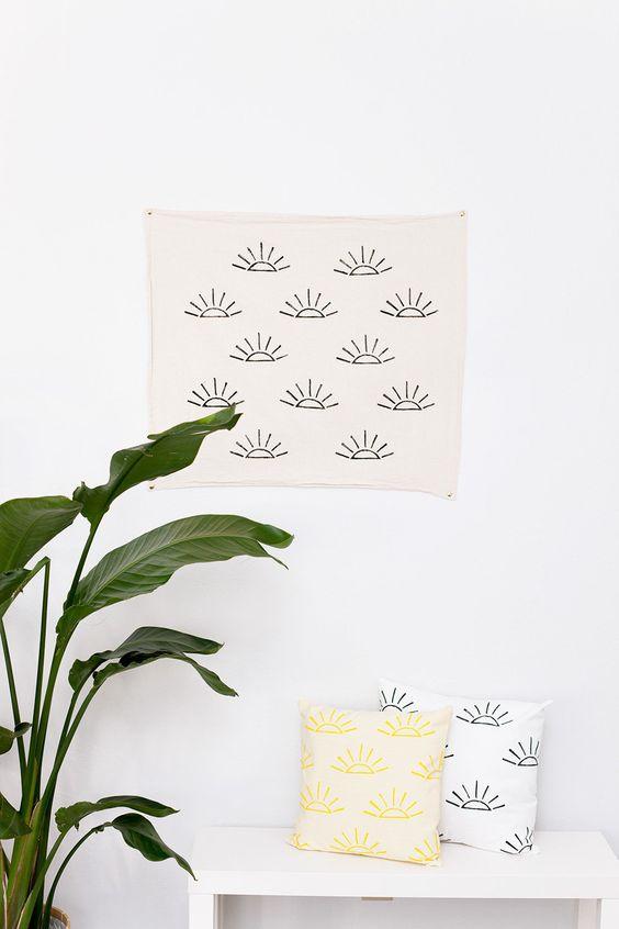 Block printed tea towel - unbleached flour sack cotton - black  - sun print (16.00 USD) by confettiriotshop