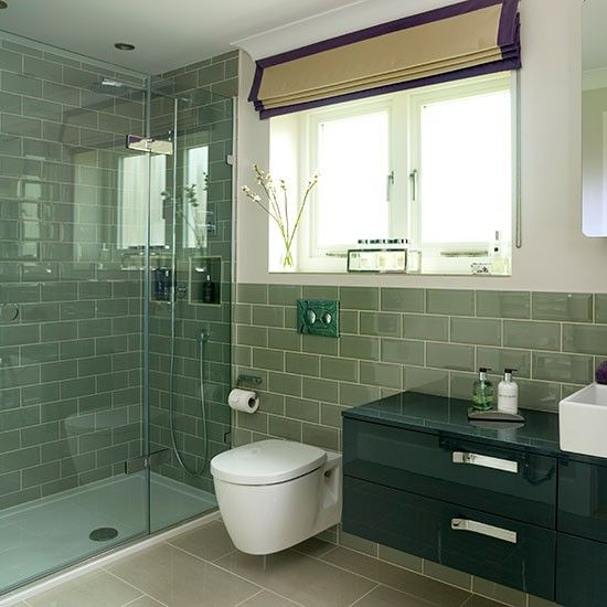 Sage green tiled bathroom | Bathroom decorating | Ideal Home | Housetohome.co.uk