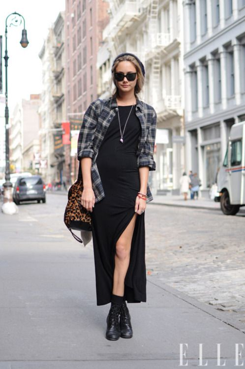 Street Chic: New York Sophie wears a Vince shirt, Reformation dress, vintage boots and a Rebecca Minkoff bag.: