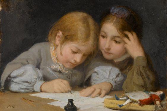 """""""Schreibunterricht"""", 1865. Albert Anker (1831-1910), Swiss Genre Painter."""