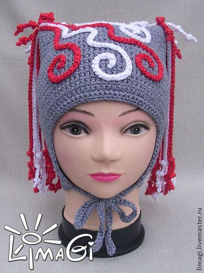 """Шапочка-прическа """"Водопад шнурочков"""" - описание - шапочка вязаная, шапочка для девочки:"""