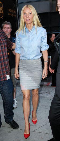 Gwyneth Paltrow - Gwyneth Paltrow Promotes Her New Book - Stella McCartney shirt, Boy by Band of Outsiders skirt, Gianvanito Rossi heels