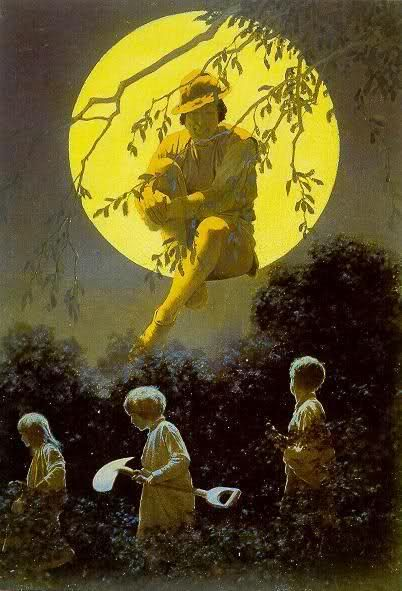 """The Man in the Moon"" by Maxfield Parrish (American: 1870 – 1966)"