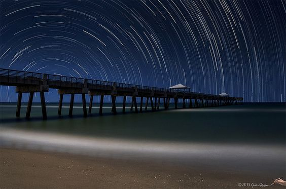 Star Trails over Juno Beach Fishing Pier in Juno Beach, Florida by HDRcustoms (very busy), via Flickr